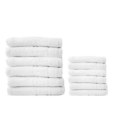 24 Piece Bath and Hand Towel Set Color: White