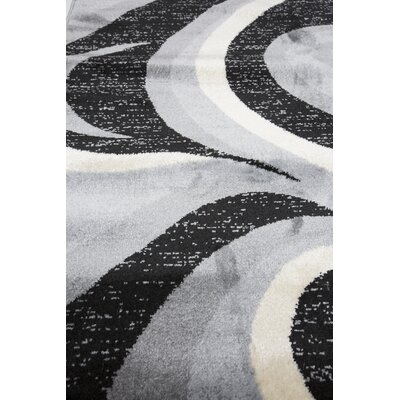 Blacksmith Swish Gray/Black Area Rug Rug Size: Runner 3 x 8