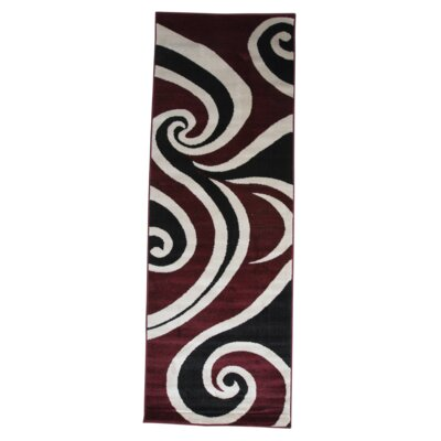Blacksmith Swish Red/Black Area Rug Rug Size: Runner 3 x 8