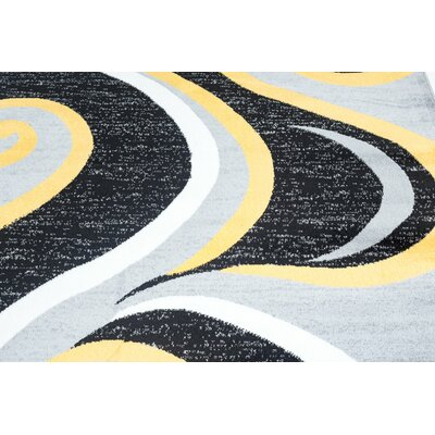 Blacksmith Swish Black/Yellow Area Rug Rug Size: 2 x 3