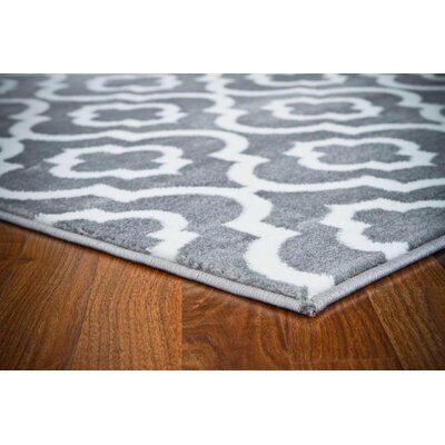 Mirror Rehash Gray/White Area Rug Rug Size: Runner 3 x 8