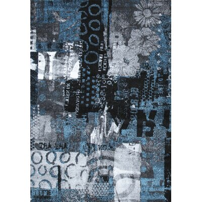 Architectural Blue/Gray Area Rug Rug Size: 5 x 75