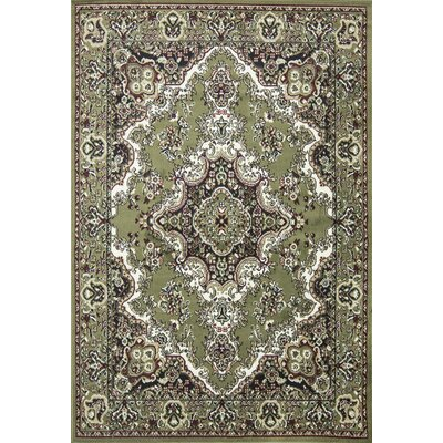 Oriental Classic Green/Black Area Rug Rug Size: 18 x 27