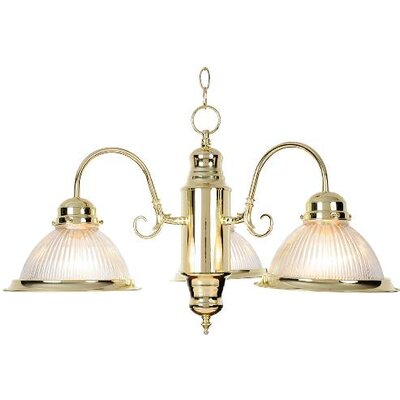Cochran Halophane Glass 3-Light Shaded Chandelier