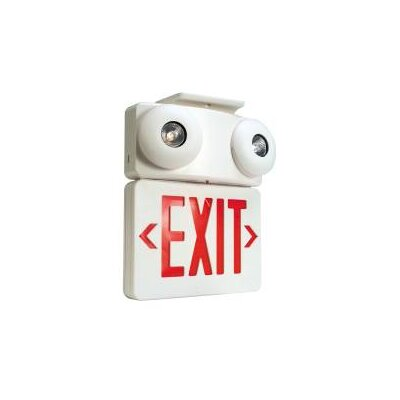 Combination 2-Light Exit Sign and Emergency Light