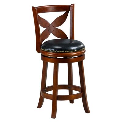 Livingston 24 Swivel Bar Stool Cushion Finish: Cherry