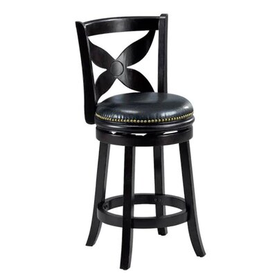 Livingston 29 inch Swivel Bar Stool Cushion Finish: Black