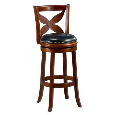 Livingston 29 Swivel Bar stool Cushion Finish: Cherry
