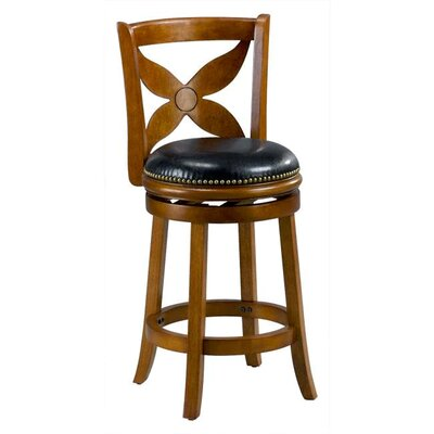 Livingston 24 Swivel Bar Stool Cushion Finish: Dark Oak