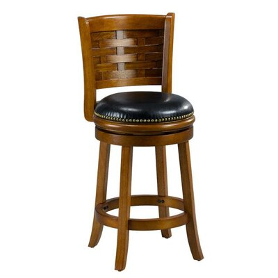 Brooklyn 24 Swivel Bar Stool Cushion Finish: Oak