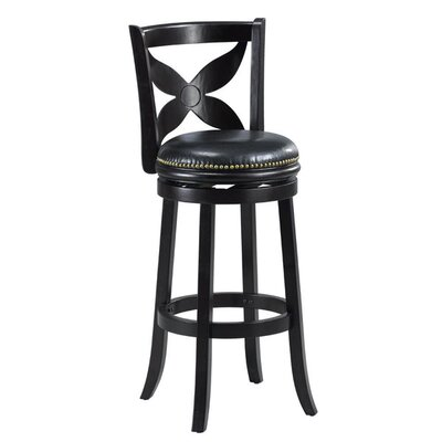 Livingston 29 Swivel Bar stool Cushion Finish: Black