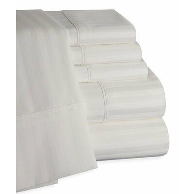 Striped Deep Pocket 6 Piece 450 Thread Count 100% Egyptian-Quality Cotton Sateen Sheet Set Size: King, Color: White