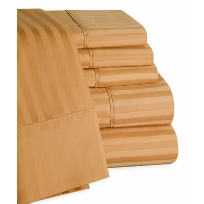 Striped Deep Pocket 6 Piece 450 Thread Count 100% Egyptian-Quality Cotton Sateen Sheet Set Size: King, Color: Sand