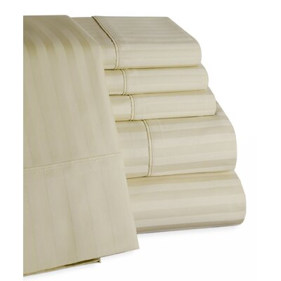 Striped Deep Pocket 6 Piece 450 Thread Count 100% Egyptian-Quality Cotton Sateen Sheet Set Size: King, Color: Ivory