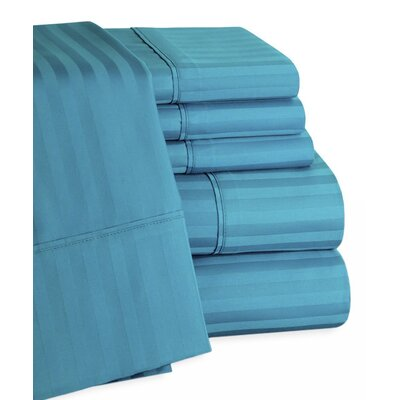 Striped Deep Pocket 6 Piece 450 Thread Count 100% Egyptian-Quality Cotton Sateen Sheet Set Color: Teal, Size: Queen