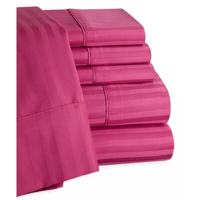 Striped Deep Pocket 6 Piece 450 Thread Count 100% Egyptian-Quality Cotton Sateen Sheet Set Color: Orchid, Size: Queen