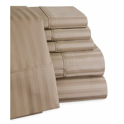 Striped Deep Pocket 6 Piece 450 Thread Count 100% Egyptian-Quality Cotton Sateen Sheet Set Color: Taupe, Size: Queen