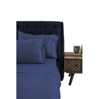 Greenburgh 200 Thread Count 100% Organic Cotton Sheet Set Color: Navy Blue, Size: Queen