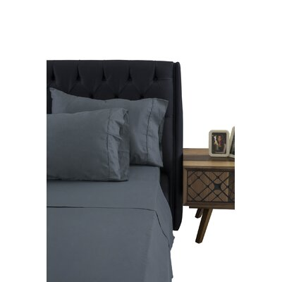 Greenburgh 200 Thread Count 100% Organic Cotton Sheet Set Color: Slate Gray, Size: Queen