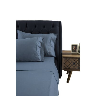 Greenburgh 400 Thread Count 100% Organic Cotton Sheet Set Color: Stone Blue, Size: Queen