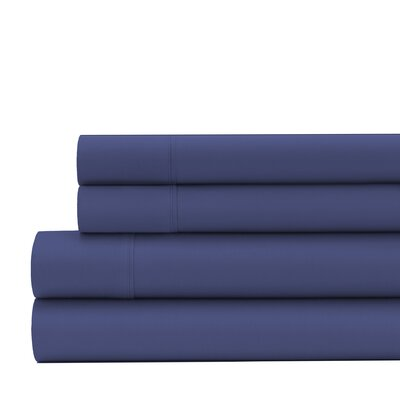 Greenburgh 200 Thread Count Organic Cotton Sheet Set Size: Twin, Color: Navy Blue