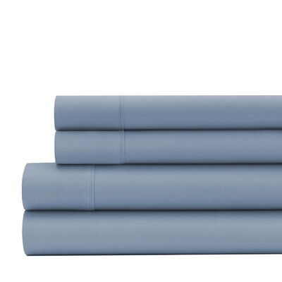 Greenburgh 200 Thread Count Organic Cotton Sheet Set Size: Queen, Color: Stone Blue