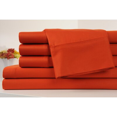 Kendele 400 Thread Count 100% Cotton Sheet Set Size: Full, Color: Orange