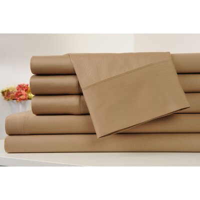 Kendele 400 Thread Count 100% Cotton Sheet Set Size: Twin, Color: Mocha