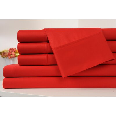 Kendele 400 Thread Count 100% Cotton Sheet Set Size: Full, Color: Red