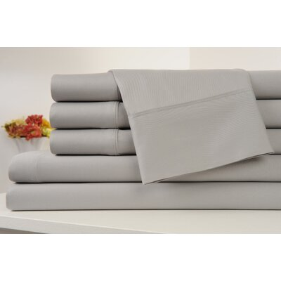 Kendele 400 Thread Count 100% Cotton Sheet Set Size: Twin, Color: Silver