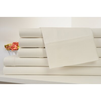 Kendele 400 Thread Count 100% Cotton Sheet Set Size: Twin, Color: Ivory