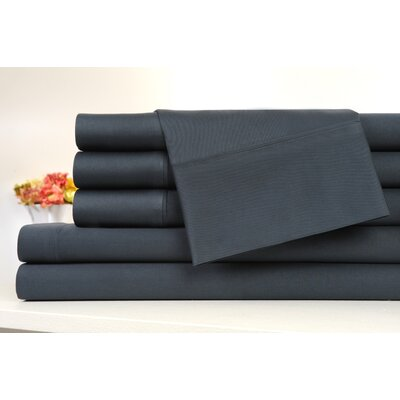 Kendele 400 Thread Count 100% Cotton Sheet Set Size: King, Color: Slate Gray