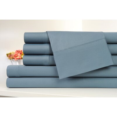 Kendele 400 Thread Count 100% Cotton Sheet Set Size: Twin, Color: Stone Blue