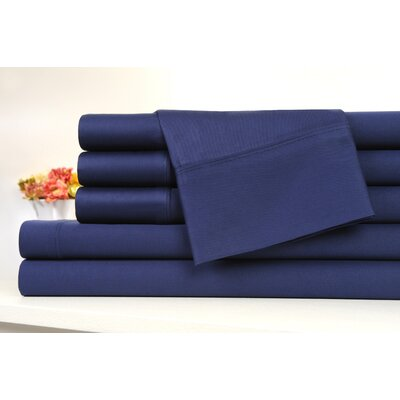 Kendele 400 Thread Count 100% Cotton Sheet Set Size: Full, Color: Navy Blue