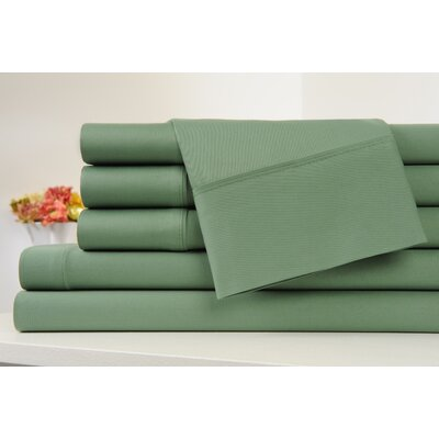 Kendele 400 Thread Count 100% Cotton Sheet Set Size: King, Color: Sage Green