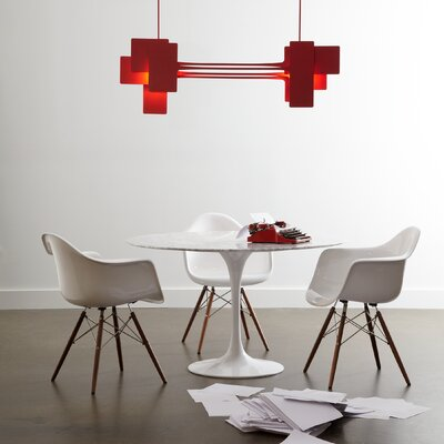 2-Light Kitchen Island Pendant Size: 52.2 H x 49.8 W x 5.2 D, Finish: Satin Red