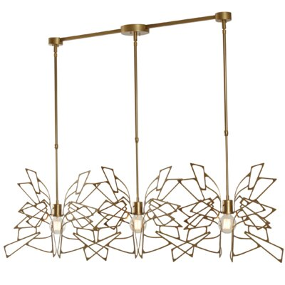 Deutsch 3-Light Kitchen Island Pendant Finish: Gold, Size: 56.8 H x 57.7 W x 21.7 D