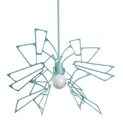 Deutsch 1-Light Geometric Pendant Finish: Satin Aqua, Size: 53.7 H x 19.6 W x 19.8 D