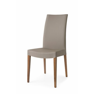 Cometa Upholstered Wooden Side Chair Upholstery: Taupe, Finish: Walnut