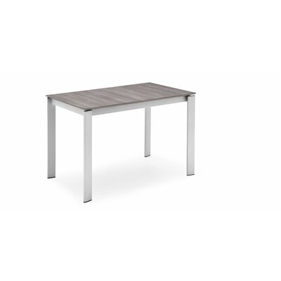 Eminence Metal Legs Extendable Dining Table Base Finish: Satin, Top Finish: Gray Oak, Size: 30 H x 63 W x 35.5 D