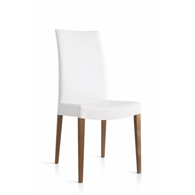 Cometa Upholstered Wooden Side Chair Upholstery: White, Finish: Walnut