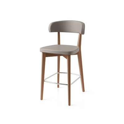 Siren Wooden Bar Stool Finish: Walnut, Upholstery: Taupe