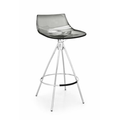 Led Bar Stool Finish: Satin Steel / Aquamarine