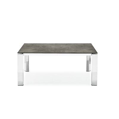Gate Ceramic Top Extendable Dining Table Top Finish: Stone Gray, Base Finish: Polished Aluminum
