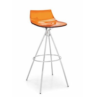 Led Bar Stool Finish: Satin Steel / Transparent