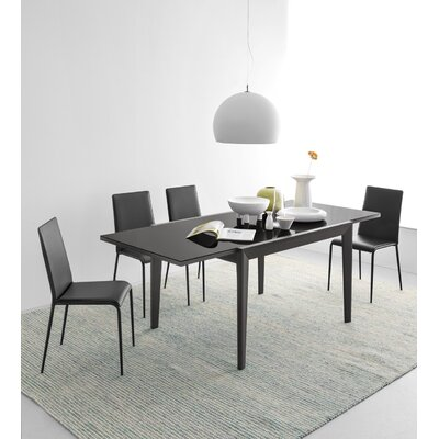 Image of Abaco Extendable Dining Table Base Finish: Graphite, Top Finish: Frosted Black