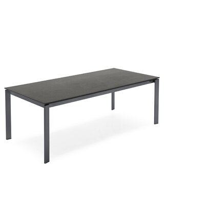 Eminence Metal Legs Extendable Dining Table Base Finish: Gray, Top Finish: Frosted Extraclear, Size: 30 H x 63 W x 35.5 D
