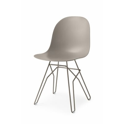 Academy Metal Rod Base Side Chair Finish: Matt Optic White, Upholstery: Matt Taupe