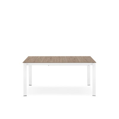 Eminence Metal Legs Extendable Dining Table Base Finish: Optic White, Top Finish: Deco Nougat, Size: 30 H x 63 W x 35.5 D