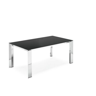 Gate Glass Top Extendable Dining Table Base Finish: Brushed Metal, Top Finish: Frosted Acid Etched Black